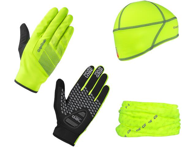 GripGrab Hi-Vis Cycling Essentials Giftbox 3-Pack yellow hi-vis